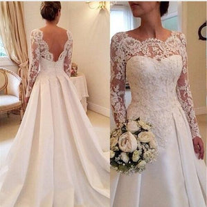 Lace Long Sleeves Wedding Dress  A Line Satin Skirt Bridal Gowns