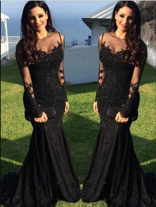 Trumpet Mermaid Long Sleeves evening dresses Train lace appliques prom dresses