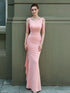 Pink Scoop Neck Sleeveless Backless Prom Dresses Long Evening Dress
