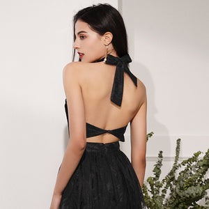 Sexy Black Halter Open Back Prom Dresses Sleeveless Lace Evening Dress
