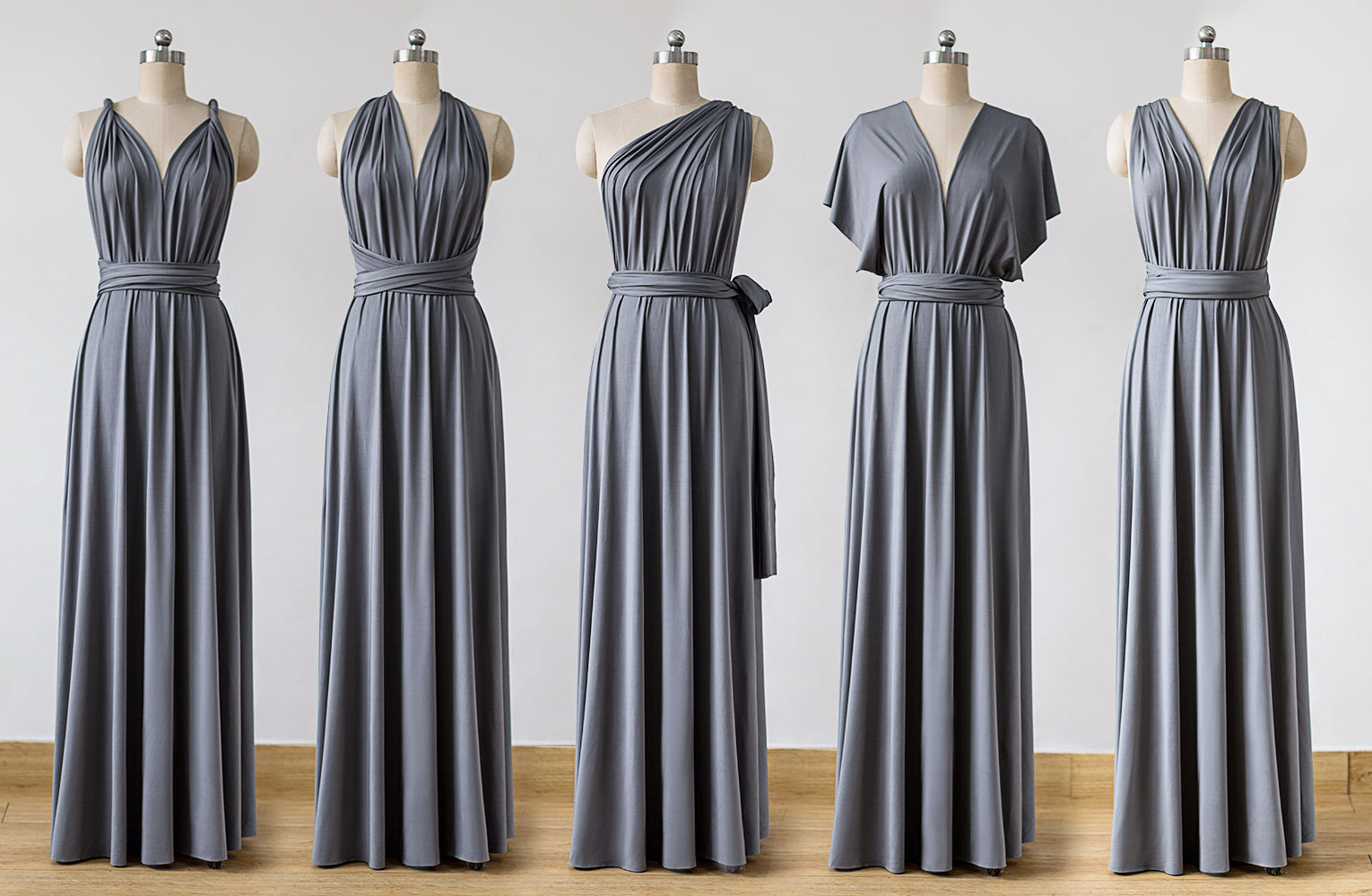 Long Grey Convertible Bridesmaid Dress