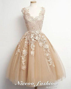 Elegant A Line V Neck Sleeveless Short Tulle Prom Dresses Homecoming Dresses With Appliques - NICEOO