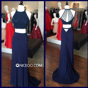 Unique Navy Blue Two Pieces Backless Slim Line Chiffon Prom Dresses Evening Dresses