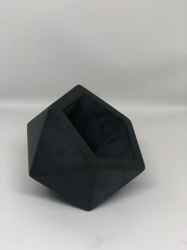 Large charcoal Icosahedron planter