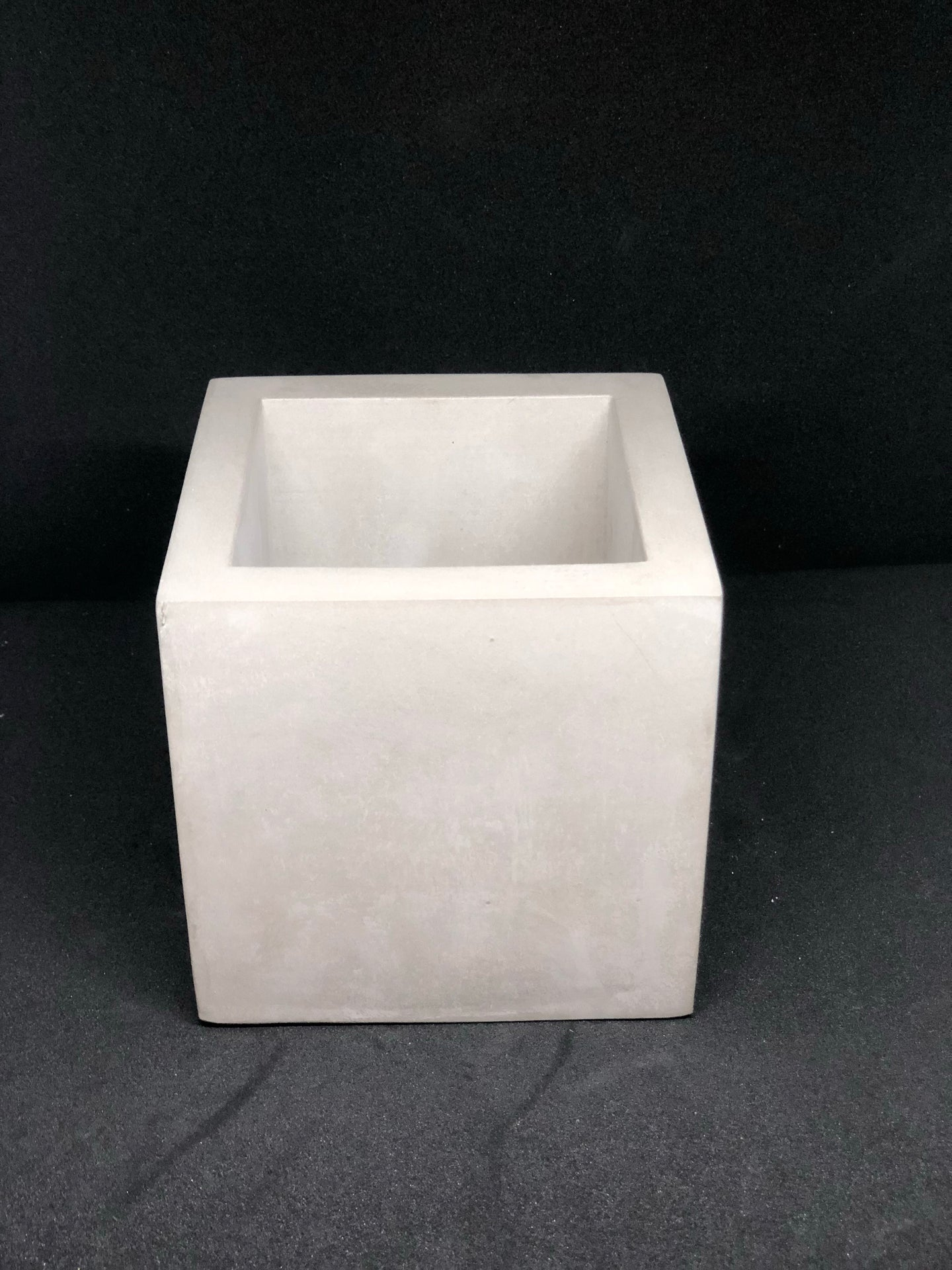 Large grey cube planter