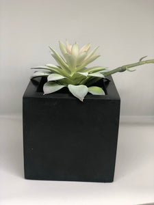Large charcoal cube planter