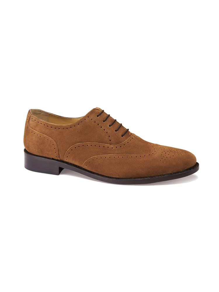 Classic Cheltenham Brogue In Suede - Mid Brown