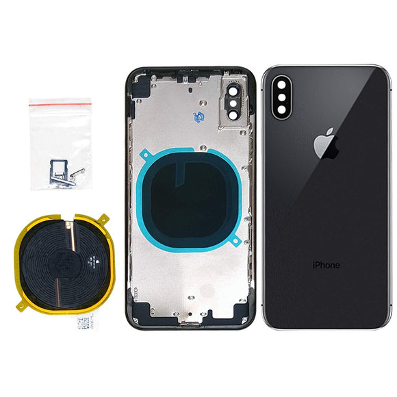 Back Housing Assembly Metal Frame w/Back Glass - Wireless Charging pad - Sim Card Tray and Camera Frame and Lens for iPhone X iPhone Parts TexasWireless1 Gray