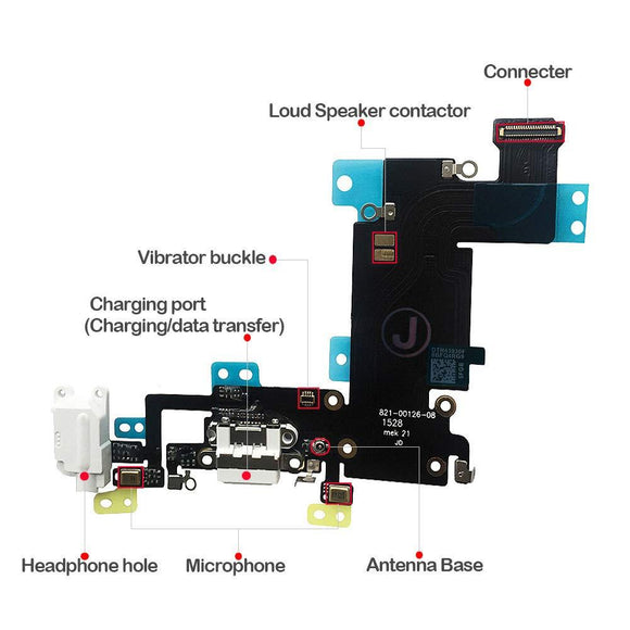 Charging Port Dock Connector Flex Cable w/Microphone + Headphone Audio Jack Port iPhone 6s Plus 5.5 iPhone Parts TexasWireless1