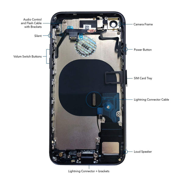 iPhone XR Back Rear Glass Chassis Frame Battery Door Housing Cover Case iPhone Parts TexasWireless1