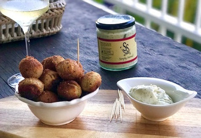 Fried Crumbed Olives, Filled with Feta and Served with Simply Stirred Aioli