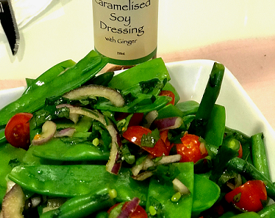 Snow Pea Salad with Caramelised Soy and Ginger Dressing
