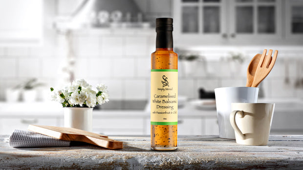 Simply Stirred - Caramelised white Balsamic Dressing with Passionfruit & Chilli 250ml Bottle