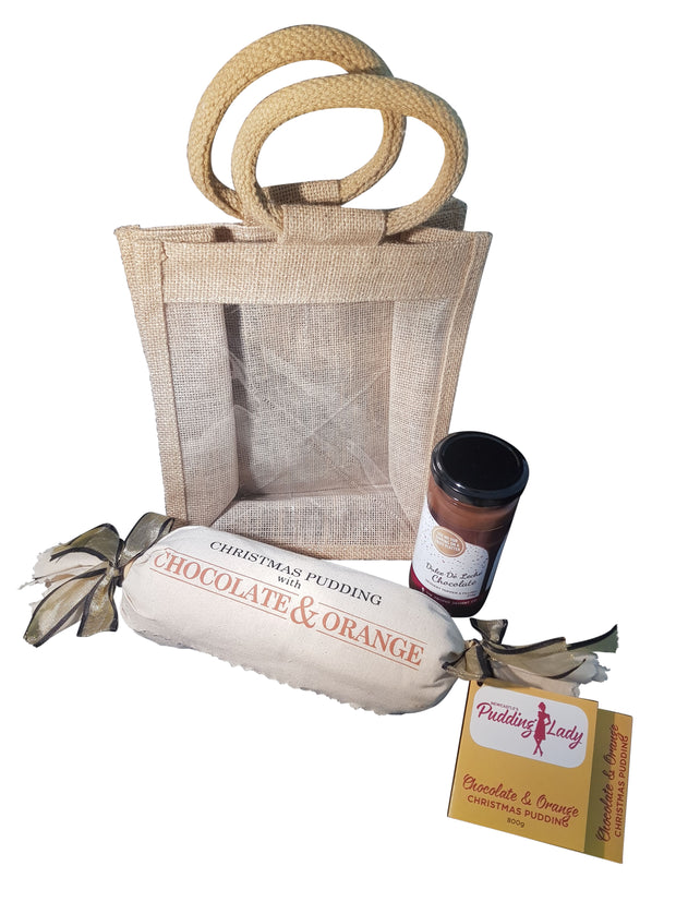 Gift Pack - Perfect Match Combo - in Jute Bag - 800g Chocolate Orange Pudding Log and 275g Jar of Spoonable Chocolate Sauce