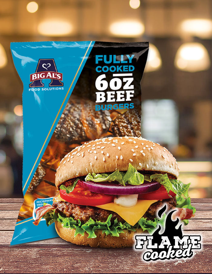 Big Al's Fully Cooked Beef Burger 6oz 16 Pack