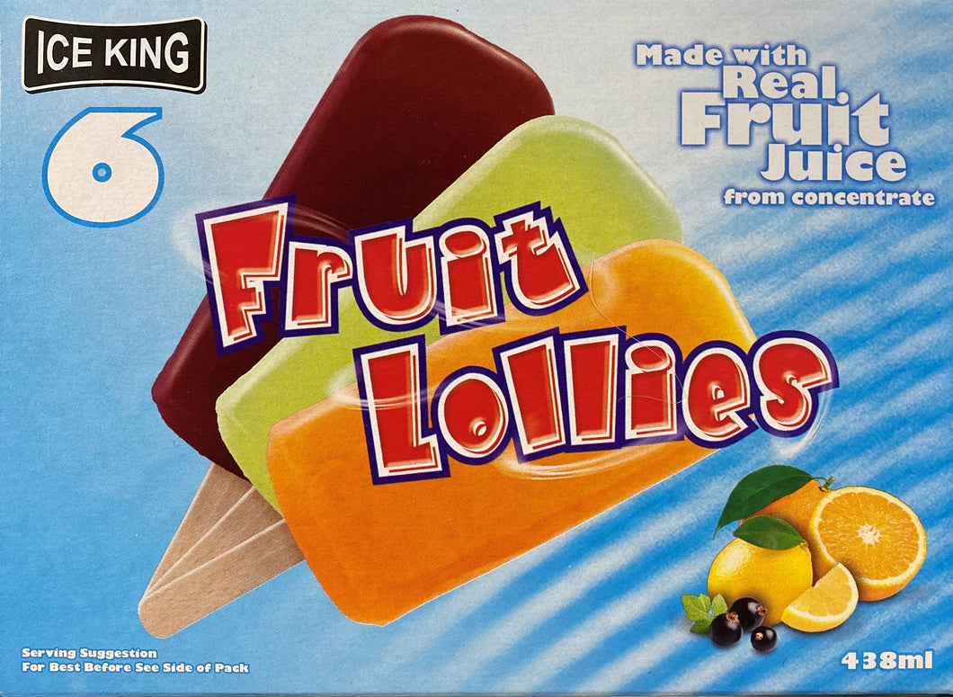 Ice King Fruit Lollies 6 Pack