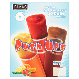 Ice King Orange, Strawberry and Cola Flavour Water Ices Push Ups 6 x 70ml