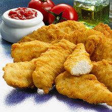 Load image into Gallery viewer, Glenhaven Cooked Battered Chicken Breast Goujons (Blue Bag) 2.5kg