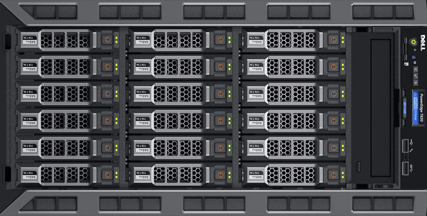 T630 ( 18 x 3.5-inch) rack view