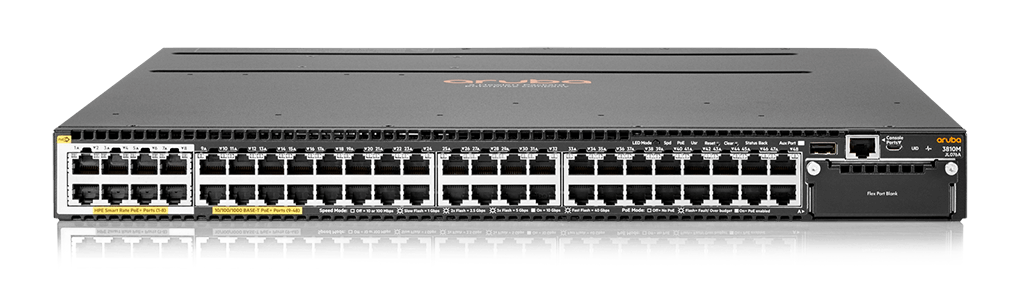 HPE JL076A Aruba 3810M 40G 8 Smart Rate PoE+ 1-slot Switch