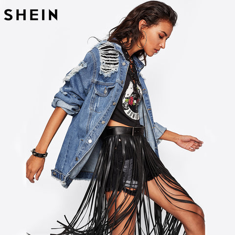 SHEIN Destroyed DenimJacket Blue