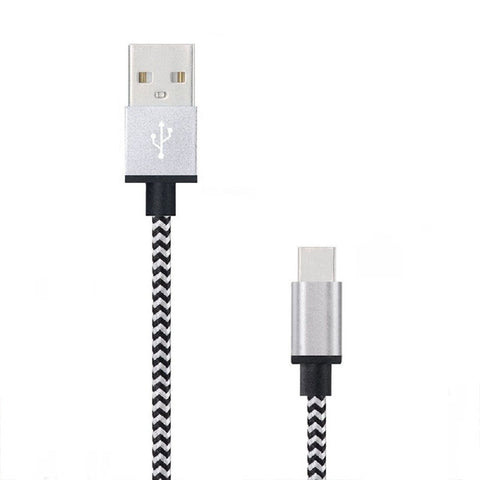 1M Type-C USB 2A Fast Charger Charging Data Sync Nylon Braided Cable Lead Wire