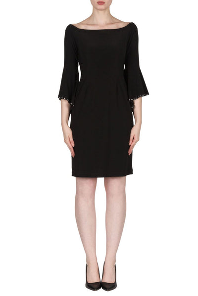 Joseph-Ribkoff-bell-sleeve-black-dress