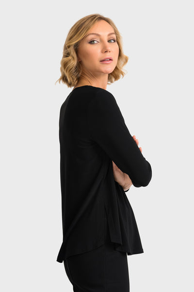 Joseph-Ribkoff-black-3/4-sleeve-top-side