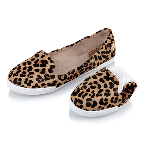 Butterfly Twists pony hair leopard print loafer and folded sample.