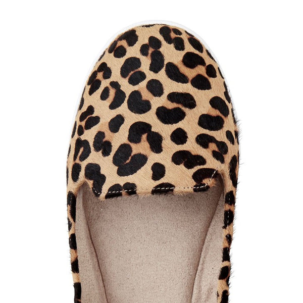 Butterfly Twists pony hair leopard print loafer top view.