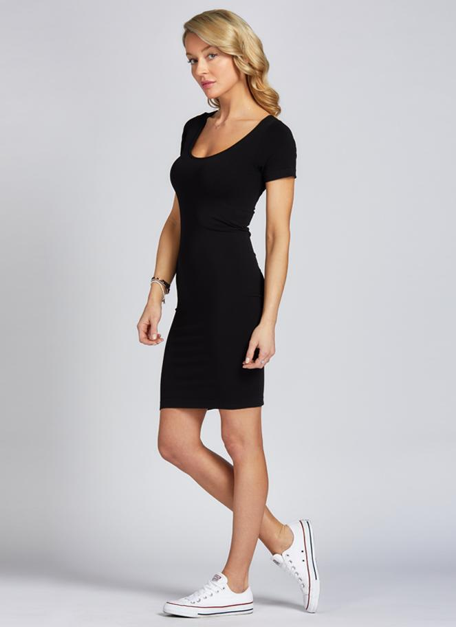 C'est-Moi-short-sleeve-scoop-neck-bamboo-dress-black.