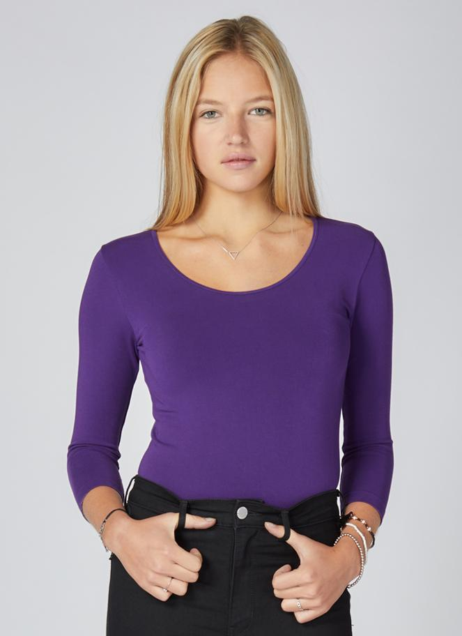 Purple Bamboo 3/4 Sleeve Top