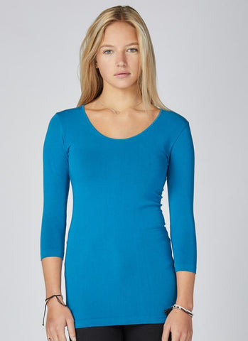 C'est-Moi-bamboo-petite-3/4-sleeve-top-blue-sapphire.