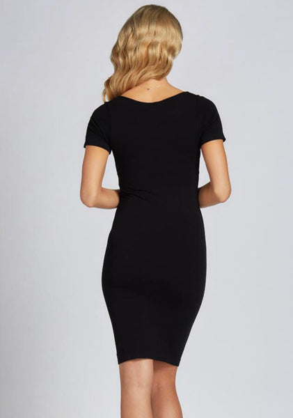 C'est-Moi-short-sleeve-scoop-neck-bamboo-dress-black-back-view.