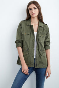 Petite-fitting-cargo-jacket-in-army-green.