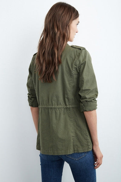 Petite-fitting-cargo-jacket-in-army-green-back-view-drawstring.