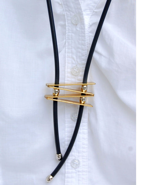 Petite brass & silver ladder pendant necklace on black cord perfect length for petite women.