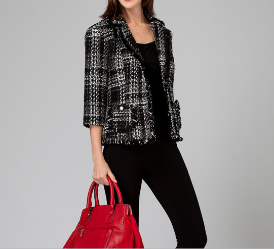 Joseph-Ribkoff-black-white-plaid-jacket