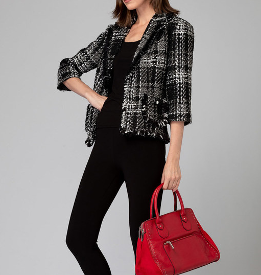 Joseph-Ribkoff-black-white-plaid-jacket-with-red-bag