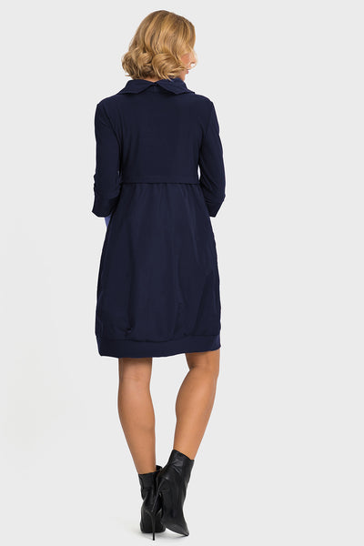 Joseph-Ribkoff-navy-petite-fitting-dress-back