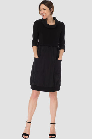 Joseph-Ribkoff-black-jersey-and-taffeta-petite-dress