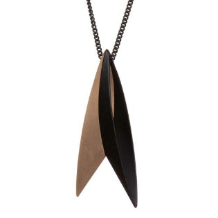 Pursuits-dual-taper-ellipse-long-necklace-matte-gold-matte-black-reversed
