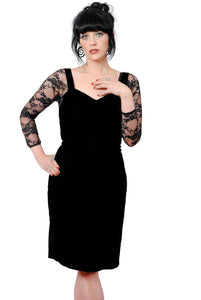 Sleevey Wonders black, 3/4 sleeve lace slip on sleeves with a black strappy dress.