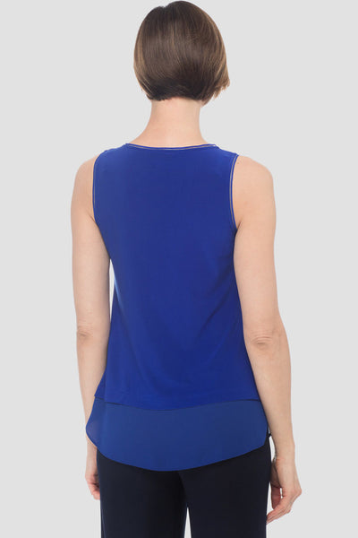 Joseph-Ribkoff-sapphire-blue-petite-sleeveless-top-with chiffon-detail-back