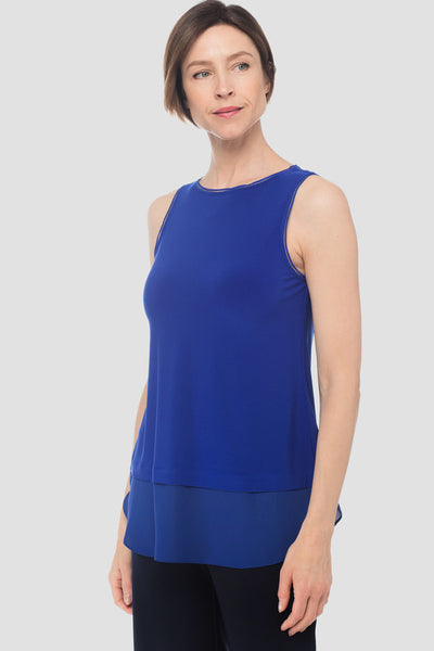 Joseph-Ribkoff-sapphire-blue-petite-sleeveless-top-with chiffon-detail