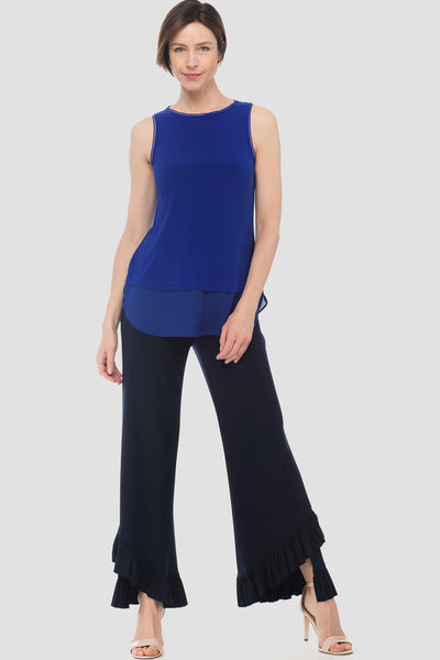 Joseph-Ribkoff-sapphire-blue-petite-sleeveless-top-with chiffon-detail-styled