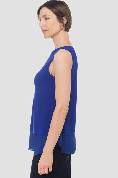Joseph-Ribkoff-sapphire-blue-petite-sleeveless-top-with chiffon-detail-side.