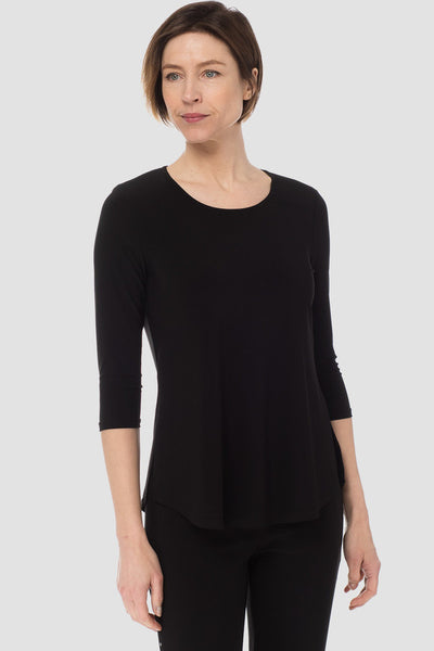 Joseph-Ribkoff-black-3/4-sleeve-top-front