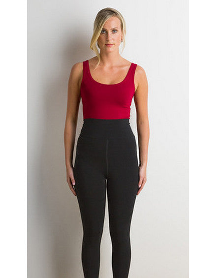 Miik cropped, petite, black legging showing smooth waistband.