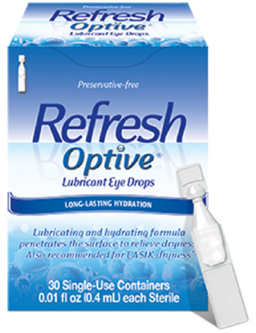 Refresh Optive Lubricant Eye Drops Single-Use Vials, 30 Count